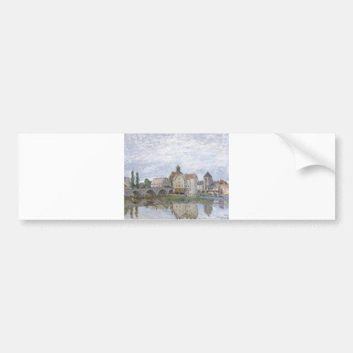 Alfred Sisley Moret-sur-Largo - aceite de los gris Pegatina Para Auto