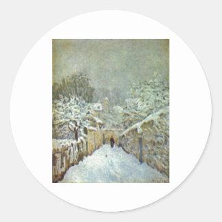 Alfred Sisley - Schnee en el aceite de Pegatina Redonda