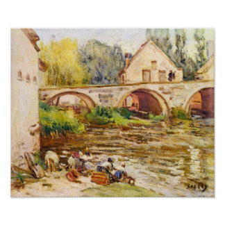 Alfred Sisley - The laundresses by Moret Poster