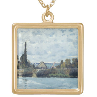 Alfred Sisley | The Seine at Bougival Gold Plated Necklace