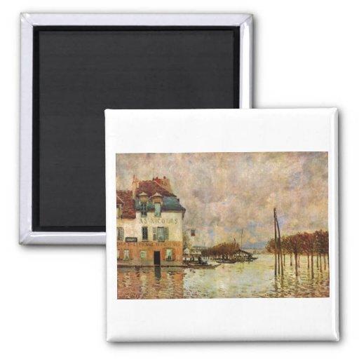 Alfred Sisley - Überschwemmung von Port-Marly 1876 2 Inch Square Magnet