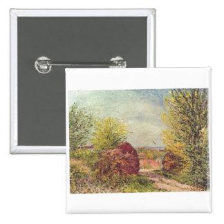 Alfred Sisley - Veneux-Nadon im Frühling 1885 Pin Cuadrada 5 Cm