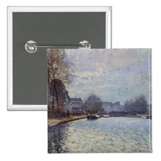 Alfred Sisley | View of the Canal St-Martin, Paris Pinback Button