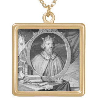 Alfred the Great (849-99) King of Wessex, engraved Square Pendant Necklace