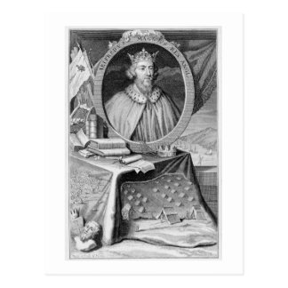 Alfred the Great (849-99) King of Wessex, engraved Postcard