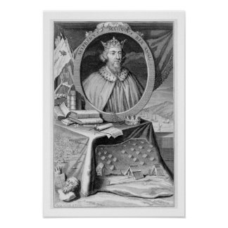 Alfred the Great (849-99) King of Wessex, engraved Poster