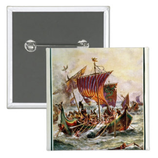 Alfred's galleys attacking the Viking Dragon Pinback Button
