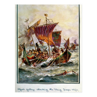 Alfred's galleys attacking the Viking Dragon Postcard