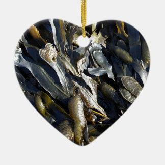 Alga marina adorno de cerámica en forma de corazón