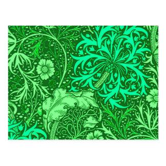 Alga marina floral, verde esmeralda de Nouveau del Postales