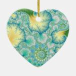 Algae - Fractal Double-Sided Heart Ceramic Christmas Ornament