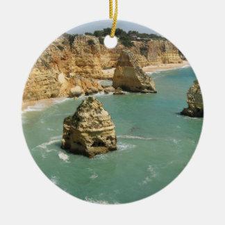 Algarve, Portugal, Benagil beach and rocks Ceramic Ornament