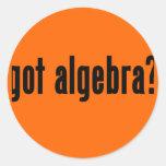 ¿álgebra conseguida? pegatina redonda