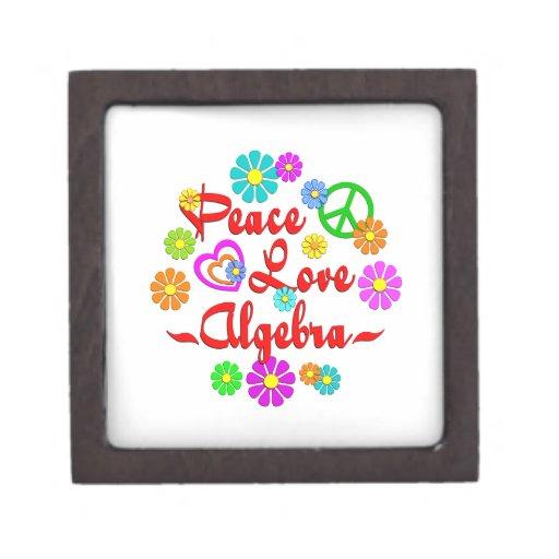 Álgebra del amor de la paz cajas de joyas de calidad