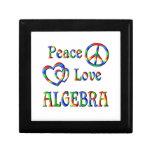 Álgebra del amor de la paz cajas de recuerdo