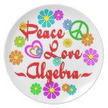 Álgebra del amor de la paz platos para fiestas