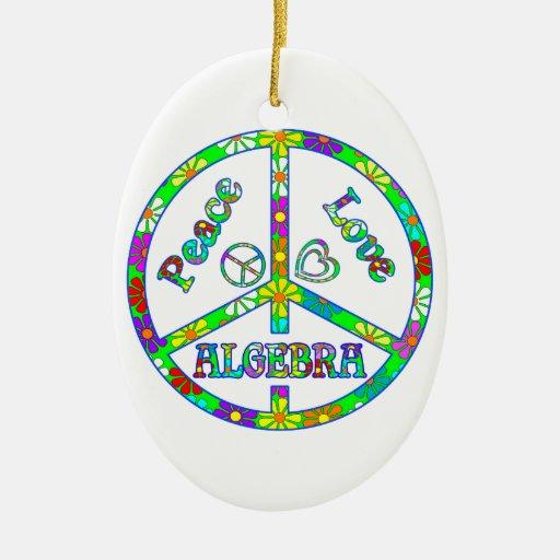 Álgebra del signo de la paz adorno navideño ovalado de cerámica