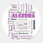 Algebra_Display_Purple Classic Round Sticker