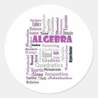 Algebra_Display_Purple Pegatina Redonda