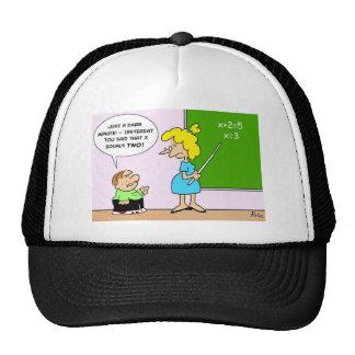 algebra kid teacher yesterday x equals two trucker hat