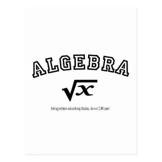 ALGEBRA:  Solving problems and confusing students. Postcard