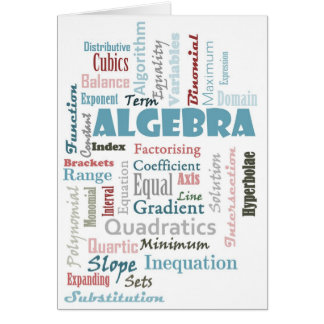 Algebra Vocabulary Greeting Card