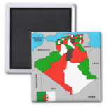algeria country political map flag 2 inch square magnet