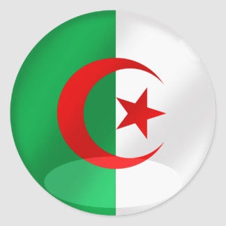 Algeria round flag with chrome like reflections stickers