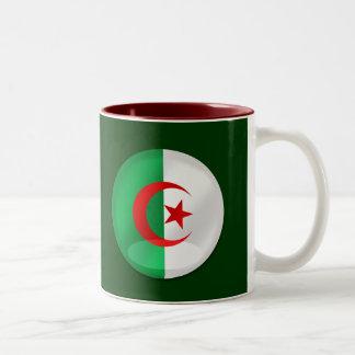 Algeria round flag with chrome like reflections Two-Tone coffee mug