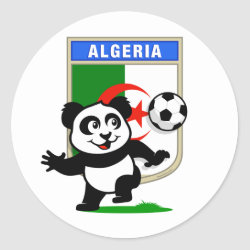 Round Sticker with Algeria Football Panda design