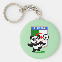 Algeria Football Panda Basic Button Keychain