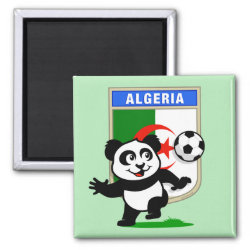 Square Magnet with Algeria Football Panda design