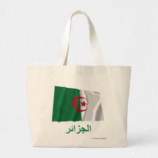 Algeria Waving Flag with Name in Arabic Jumbo Tote Bag