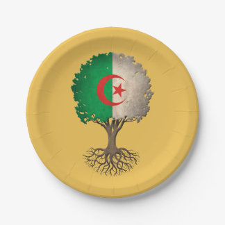Algerian Flag Tree of Life Customizable 7 Inch Paper Plate