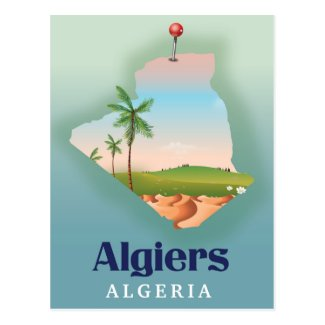 Algiers Algerian Map travel poster Postcard