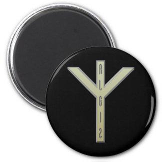 Algiz Rune gold 2 Inch Round Magnet