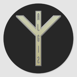 Algiz Rune gold Classic Round Sticker