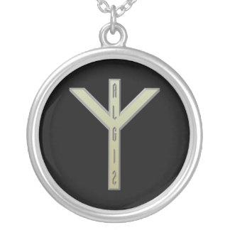 Algiz Rune gold Round Pendant Necklace