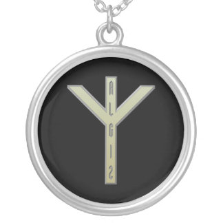 Algiz Rune gold Silver Plated Necklace