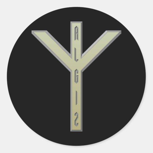 Algiz Rune gold Round Stickers