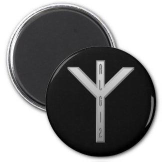 Algiz Rune grey 2 Inch Round Magnet