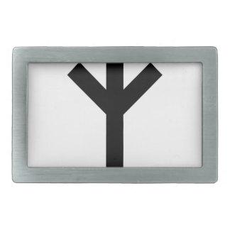 algiz rune rectangular belt buckle