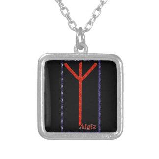 Algiz Rune Square Pendant Necklace