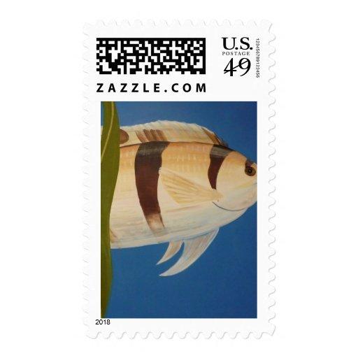 Algo a pescado sello postal