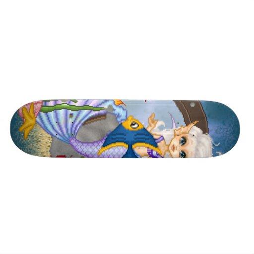 Algo arte a pescado del pixel de la sirena skate board