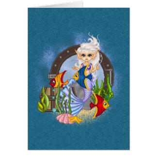 Algo arte a pescado del pixel de la sirena tarjeton
