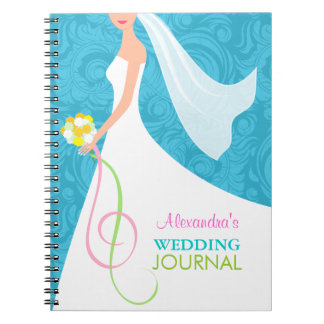 Algo diario azul del planificador del boda del dam libretas