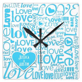 Algo el casarse conocido de encargo azul del amor  reloj de pared