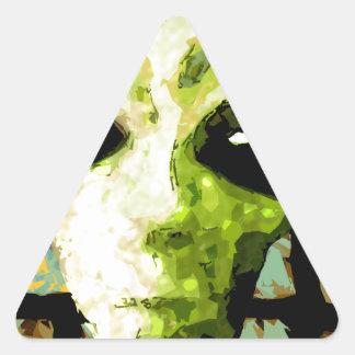 algo extraño pegatina triangular