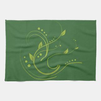 Algo fase verde en fondo verde oscuro toallas de cocina
